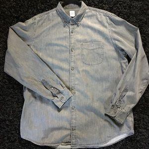 GAP Black Denim Button Down Shirt, XL Tall